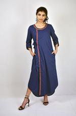 Indricka Indigo Side Tie Organic Cotton Dress (STVS3171GJ_INDG)