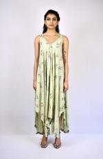 Indricka Green Printed Handkerchief Dress (STVS3194PTD_PISTA)