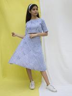 The Khadi Staple Blue & White Striped Crop Top & Skirt Set (TKSD09)
