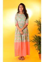 The Khadi Staple Mint Green & Peach Floral Print Dress (TKSE01)