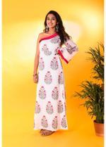 The Khadi Staple White Printed One-Shoulder Maxi Dress (TKSE06)