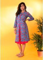 The Khadi Staple Blue Floral Print Jacket (TKSE15)