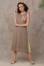The Khadi Staple Fawn & Peach Colorblocked Beach Day Dress (TKSF04)