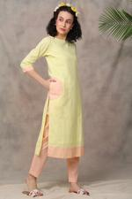 The Khadi Staple Lemon & Peach Colorblocked Kurta & Pants Set (TKSF08)