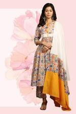 The Khadi Staple Multicolored Floral Print Kurta Set (TKSG06)