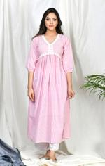 Zumaira Pink Itrat Stripe set with embroidered palazzo and floral dupatta (ZU62-A)