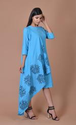 Plush Culture Dark Blue drape dress with big black flower print (pc_02)