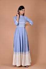 Plush Culture Blue maxi with small white flower belt at waist with white bottom layer (pc_05)
