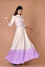 Plush Culture White maxi with small purple flower belt at waist with purple bottom (pc_06)