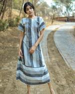 Sugandh Grey & White Striped Dress (wos-502)