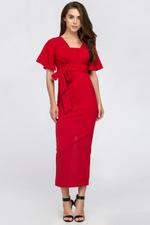 OwnTheLooks Red Butterfly Sleeve Column Dress (214A)