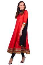 Imara Red & Black  Paneled Anarkali Set (A18LOMCKD603B)