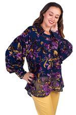 Elvi Navy Blue Faith Floral Print Sheer Top (AW18/02/TP21)