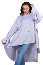Miella Steel Grey Longline Shirt (TP033-GRY)