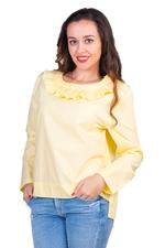 Miella Yellow Electro Pleated Collar Top (TP674-YLW)