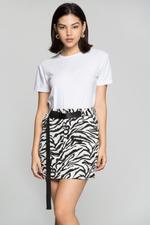 OwnTheLooks Black & White Snake Print Skirt (937B)