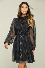 OwnTheLooks Acid Blue and Black Cinched Dress with Belt (070C)