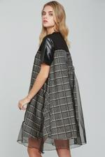 OwnTheLooks Black & White Glen Check Printed Dress (137C)