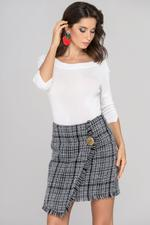 OwnTheLooks Black and White Tweed Skirt and White Top Dress Set