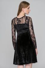 OwnTheLooks Black Velvet Lace Dress (698A)