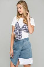 OwnTheLooks White Gingham Bralette Over Top (649B)