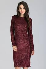 OwnTheLooks Maroon Sequined Sleeved Midi Dress