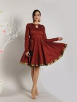 Abhishti Maroon Fit & Flare Dress (ABI-1429)
