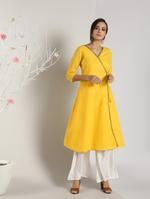 Abhishti Yellow Angrakha Kurta (ABI-1443)
