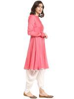 Abhishti Pink & White Flared Kurta with Dhoti Pants (ABI-ST196)