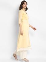 Abhishti Yellow & White Angarkha Kurta Palazzo Set (ABI-ST201)