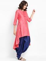 Abhishti Pink & Blue Asymmetric High Low Kurta with Dhoti Pants (ABI-ST216)