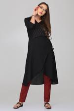 Abhishti Black & Maroon Cotton Linen Ikat Angarkha Kurta with Pants (ABI-ST274)