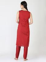 Abhishti Red Banarasi Cotton Silk Kurta & Pants Set (ABI-ST311)