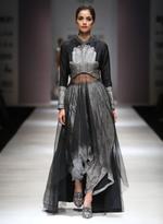 AL-Indian Luxury (Ashima Leena) Grey & Black Printed Kurta & Dhoti Pants (AL-O24)