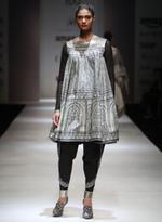 AL-Indian Luxury (Ashima Leena) Black & Grey Anarkali Kurta with Dhoti Pants (AL-O27)