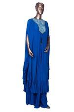 Arpita Mehta Blue Embroidered & Ruffled Front Slit Kaftan & Palazzo Set (AMV19AMF3863) by Vesimi