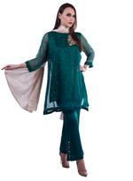 Agha Noor Green & Beige Embellished Kurta Set ANSS'19-13)