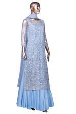 Aneesh Agarwaal Blue Embroidered Lehenga Set (AVS-117) by Vesimi