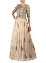 Latha Puttanna Grey & Beige Blouse & Skirt Set