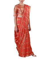 Latha Puttanna Orange Checked Saree with Stitched Blouse