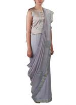 Latha Puttanna Grey Embroidered Saree with Stitched Blouse