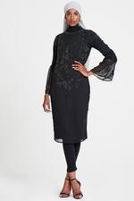 Elvi Black Luzia All-Over Embellished Column Dress (AW18/02/DS42)