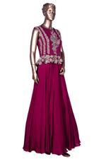 Bhumika Sharma Maroon Embroidered Peplum Gown (BS-SS19-103) by Vesimi
