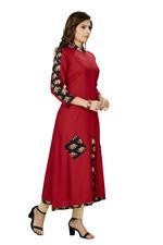 Suumaya Red & Black Printed Cut & Sew A-Line Kurta (I-5075)