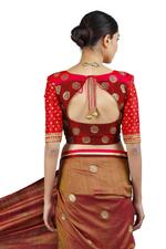 Latha Puttanna Rust Brown & Red Handpainted Saree with Stitched Blouse (LP-Sb-04)