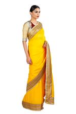 Latha Puttanna Yellow & Maroon Saree with Stitched Blouse (LP-Sb-24)