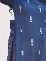 Mesmora Navy Blue & White Embroidered Kurta & Pants Set  (#MF1402)