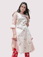 Mesmora Off-White & Red Embroidered & Striped Kurta with Pants Set (#MF1409)