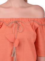 Mesmora Peach Off-Shoulder Top & Grey Striped Palazzo Set (#MF3001)