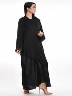 Moistreet Black Paneled Abaya with Sheila (MOIA2069)